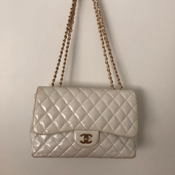 f2a9498eecc4 CHANEL Bags | White Patent And Glitter Caviar Bag | Poshmark